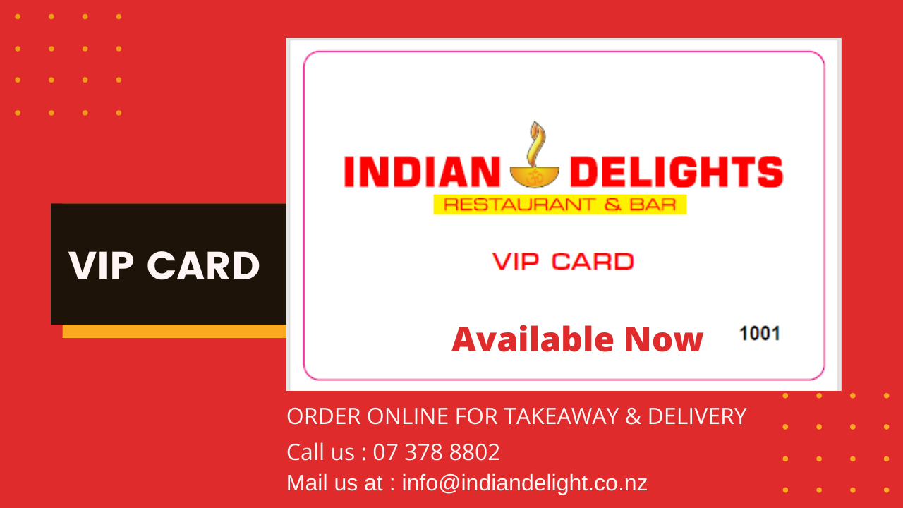 Indian Delight Taupo VIP card and Gift card is available now